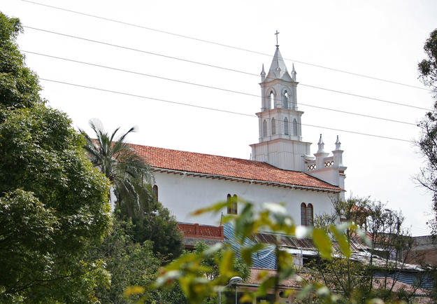 View of the rear façade of the church from El Barranco, 2011