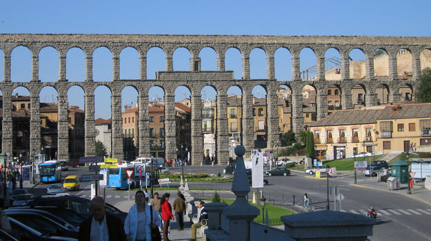 Panoramic view of one of the most intact Roman aqueducts in Europe, 2006