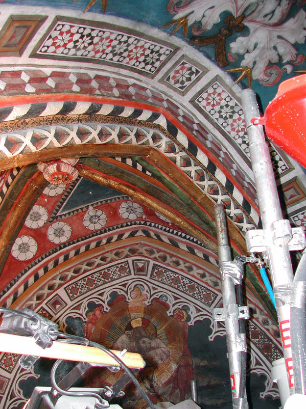 Murals of San Blás Chapel during conservation, 2004