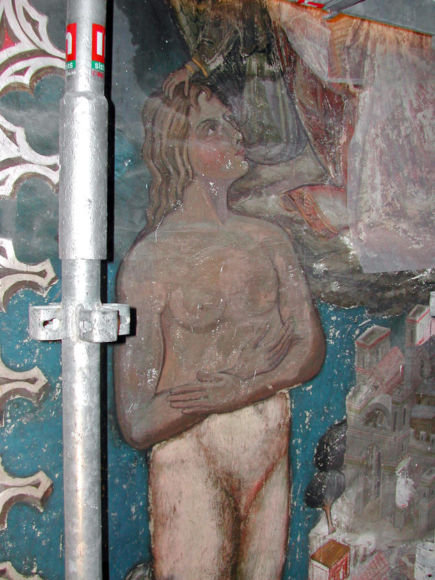 A detail of the murals of San Blás Chapel during conservation, 2004