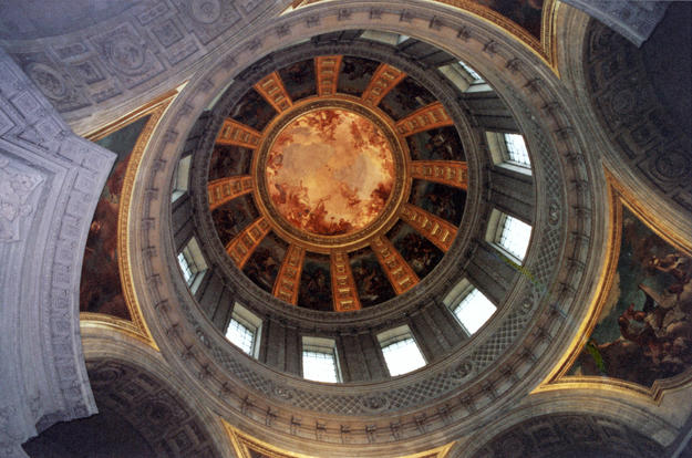 Interior of the dome with coffering radiating from the central fresco, 1994