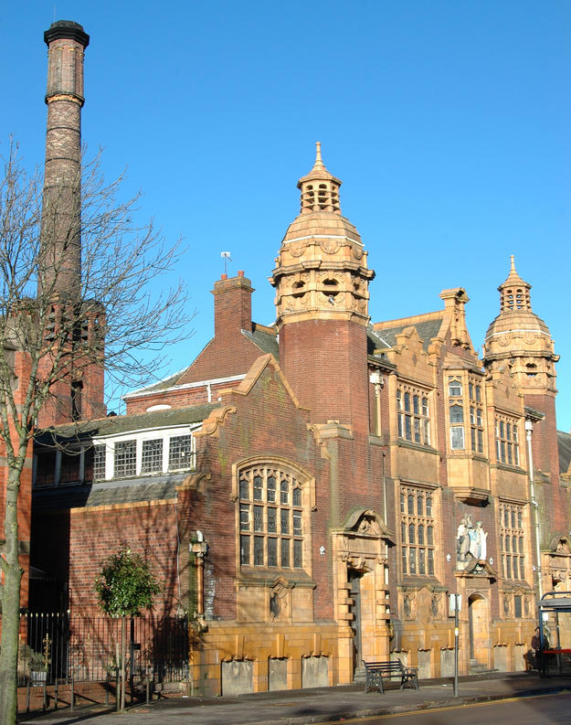 Front view of the Moseley Road Baths in Balsall Heath, 2012
