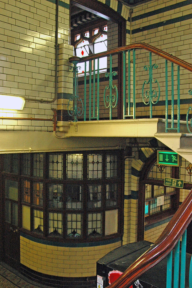 A staircase in the Moseley Road Baths with intact architectural details, 2007