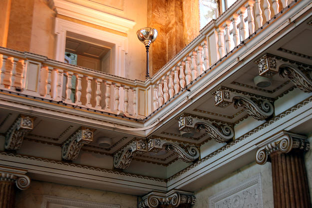 A detail of the Marble Saloon, where Ionic columns with a scagliola finish support a balcony that surrounds the room, 2013
