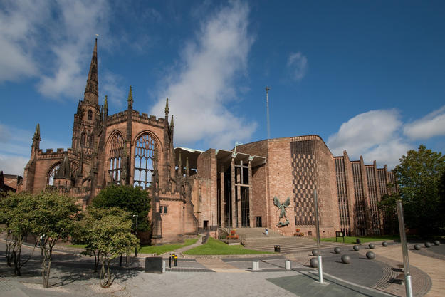 Coventry's two cathedrals with the ruins of the former cathedral on the left, 2011