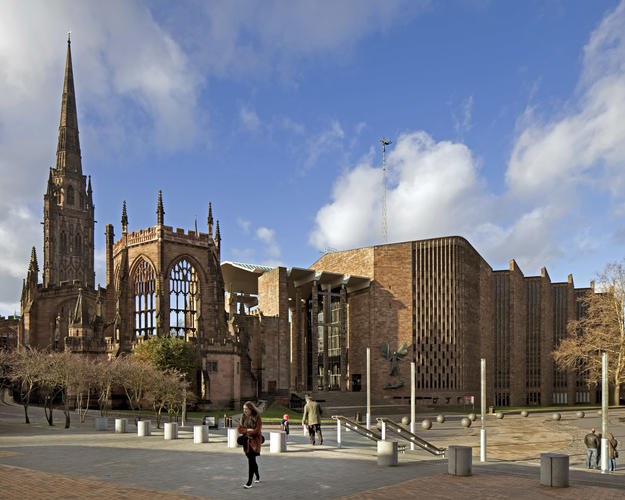 The ruins of St. Michael and the post-war cathedral link past to present, 2011
