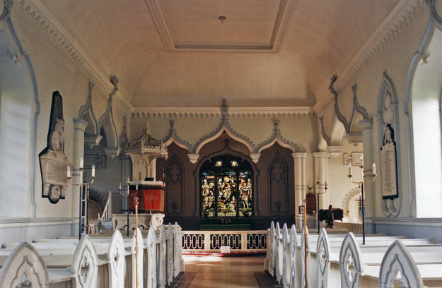 Nave looking east towards transept and chancel, 2003