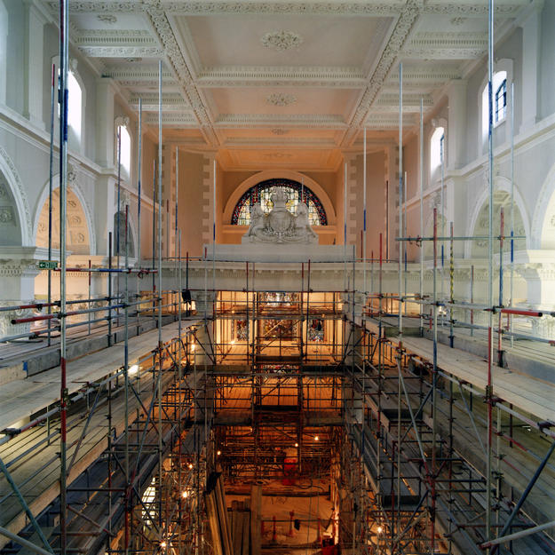 The nave looking east with scaffolding partly dismantled, 2004