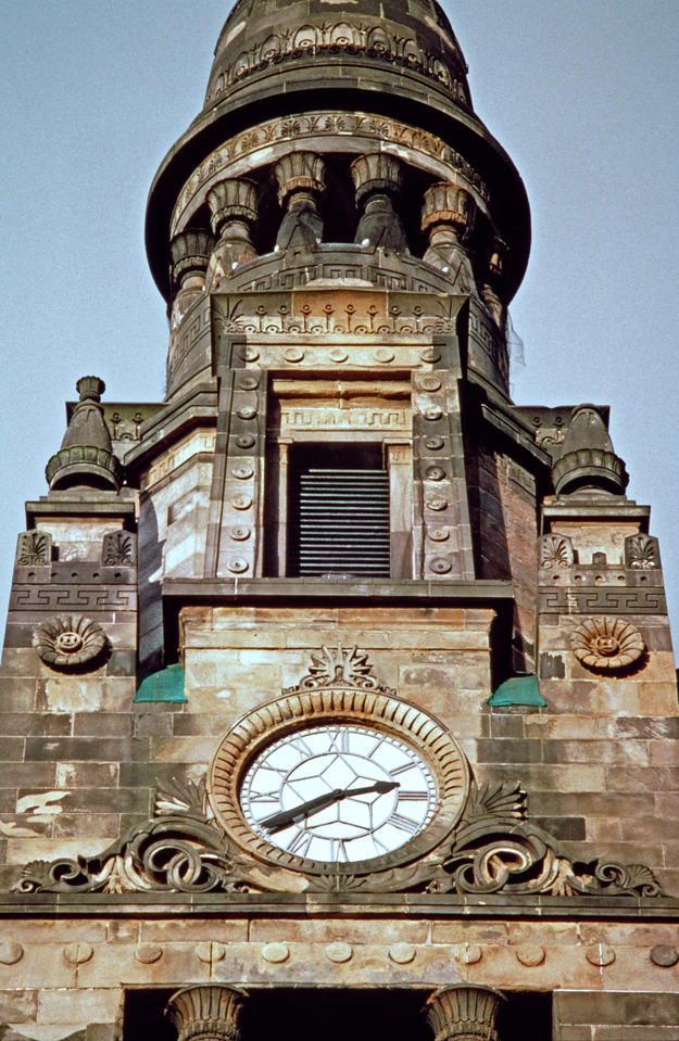 Detail of the church tower, characteristic of Thomson's style, 2003