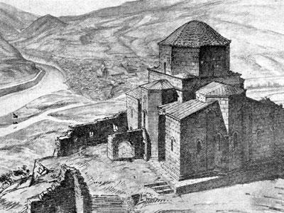 Architect Nikolai Severov's sketch of the church, 1935