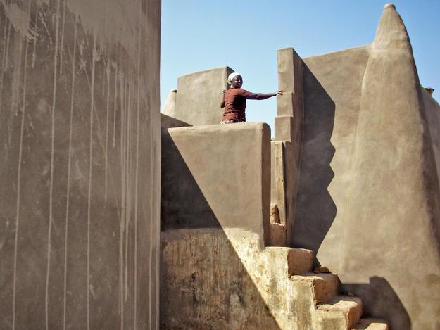 Internal view showing newly restored earthen walls, 2010