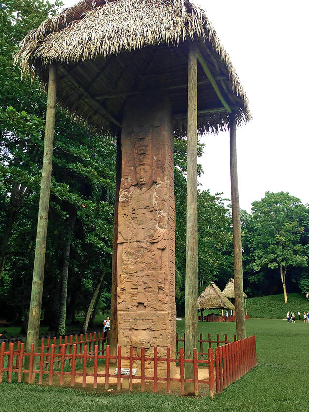 Maya stela under protection, 2013