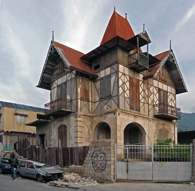 A Gingerbread house is constructed with multiple methods, including a concrete addition, 2010