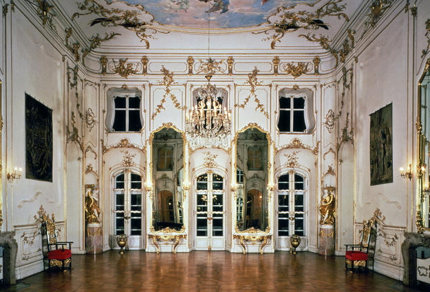 Music room with ceiling frescos from the mid-18th century , 1994