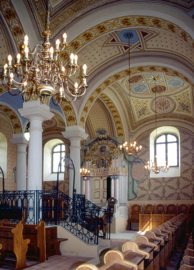 Interior with its remarkable bimah, 2004