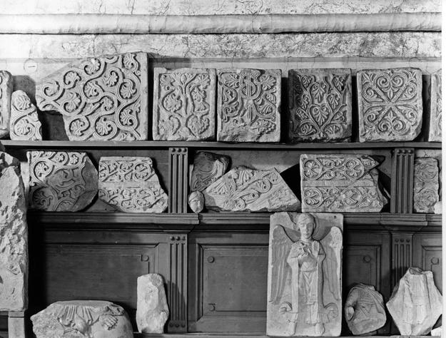 Romanesque carvings and sculptures in storage, 1989