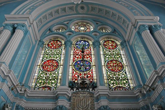 Victorian stained glass windows over ark, 2009