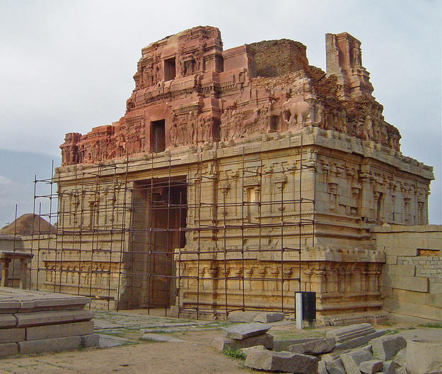 East gate, west elevation with scaffolding during conservation , 2005