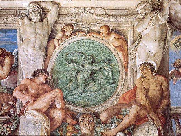 Ceiling fresco of a medallion with Europa and Jupiter , NA