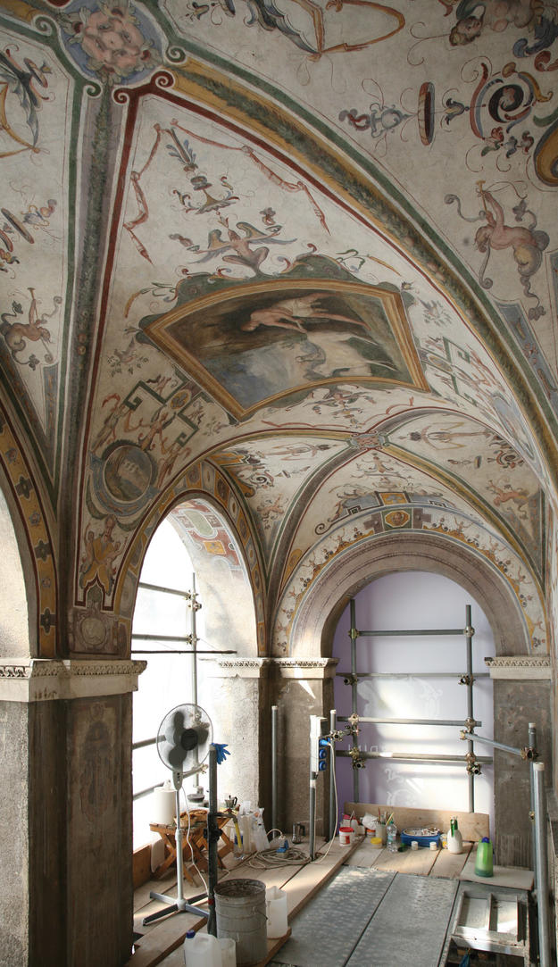 The Loggia Superiore during conservation, 2012