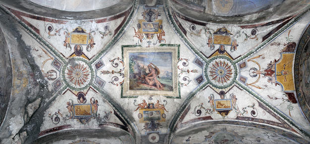 The ceiling of the Lower Loggia before conservation, 2012