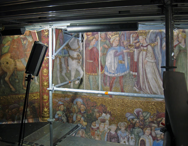 Detail of the fresco during conservation, 2014