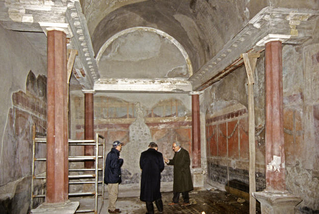 The House of the Silver Wedding Anniversary during conservation, 1998