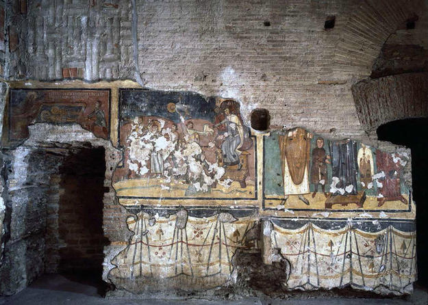 Wall paintings of the Chapel of Theodotus before conservation , 2005