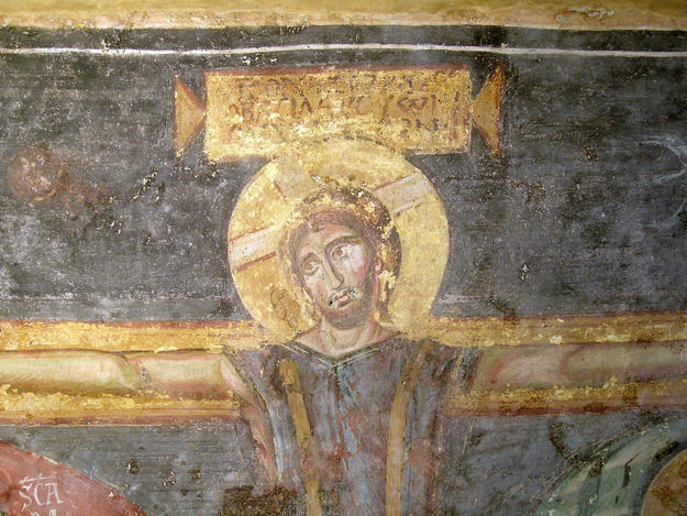 Detail of a wall painting before conservation, 2006