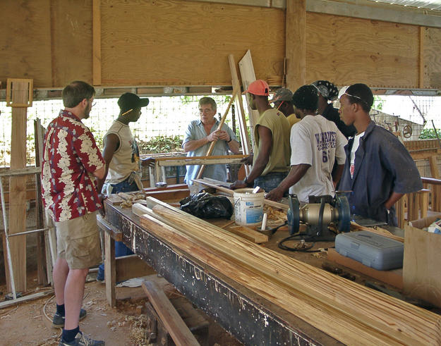 A workshop on site about making historic moldings, 2003
