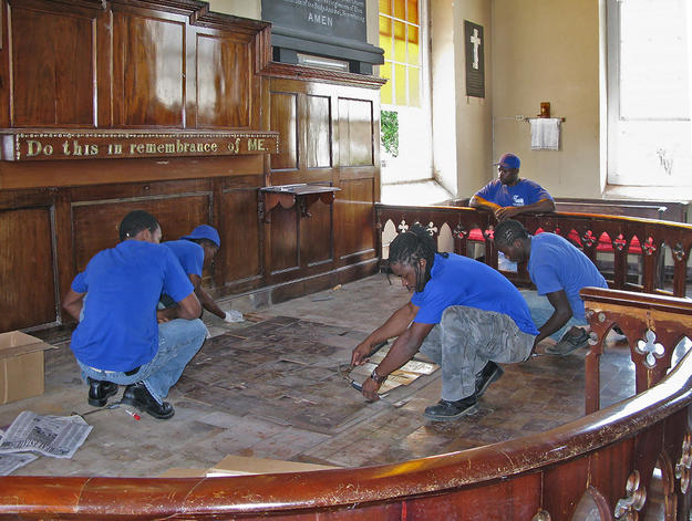 St. Peter's Anglican Church altar during conservation , 2010