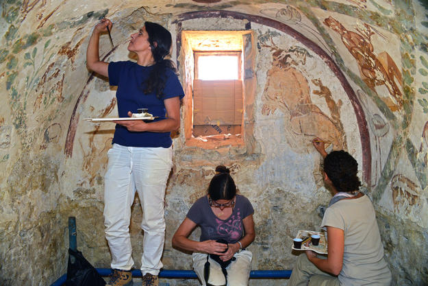 Apodyterium (undressing room) during conservation, 2014