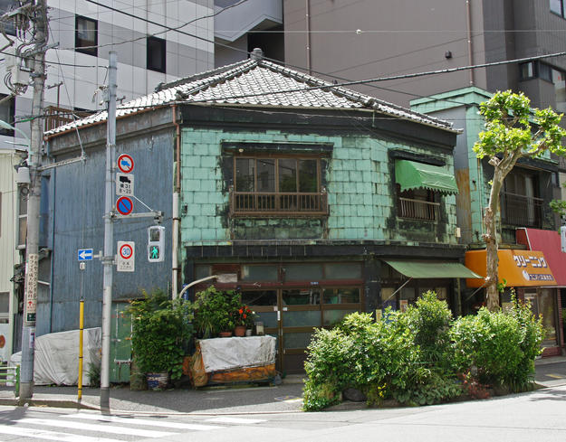 The Yuasa merchant house in Tsukiji, in the modern kanban kenchiku, or signboard architecture style , 2015
