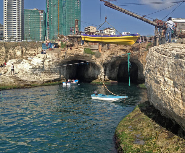 Boat tours of the Dalieh caves and famous Pigeon Rocks are a popular activity, 2014