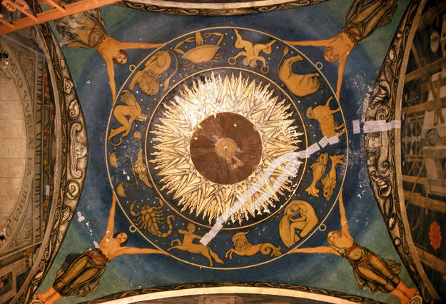 Ceiling of The Feast of the Holy Cross during conservation, 2001
