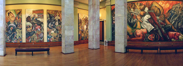 Spectacular murals inside the palace, 1999