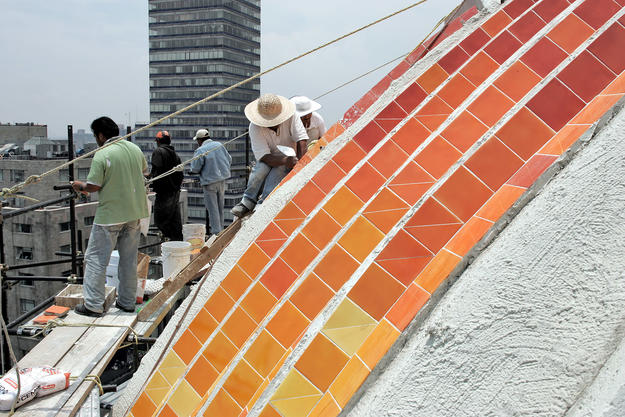 Conservators repair the domed roof, 2004