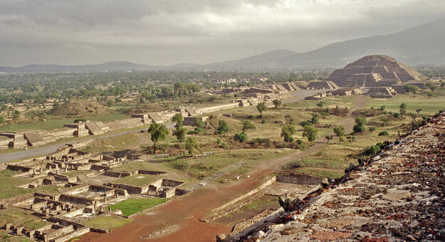 Temple of Quetzalcoatl from a distance, 1998