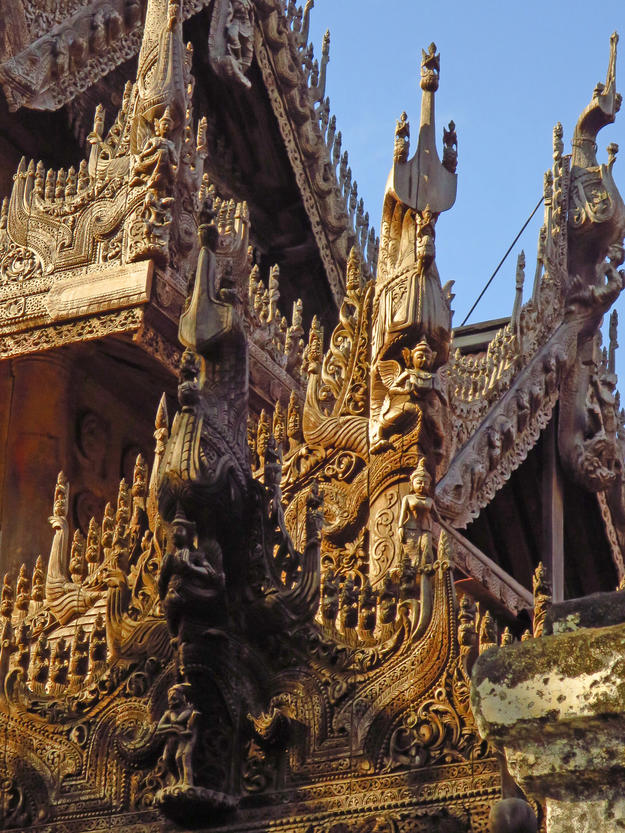 Detail of the monastery's elaborate woodcarvings, 2014