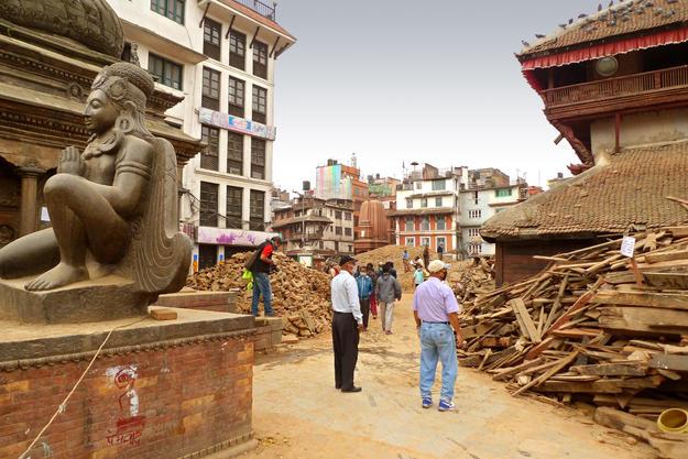 Debris in the Kathmandu Durbar Square following the earthquake, 2015