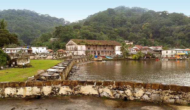 View of the town of Portobelo from San Gerónimo Fort, 2015