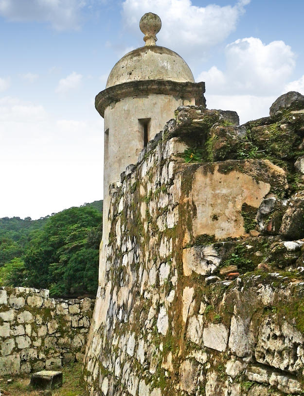Biological growth on the forts threatens the Fortifications of Portobelo, such as San Gerónimo Fort, 2015