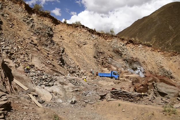 Mining at Rumiqolqa, sometimes using dynamite, is encroaching on the fragile archaeological remains of the site, 2012