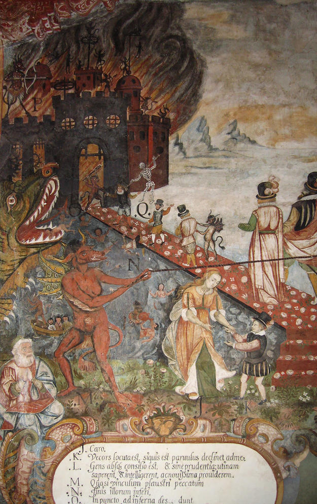 Detail of hell in a wall mural, 2008