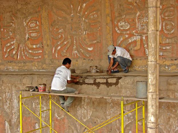 Conservators preserve polychrome friezes , 2010
