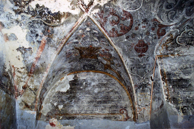 Murals on southern part of vault and on southern wall before conservation, 2001