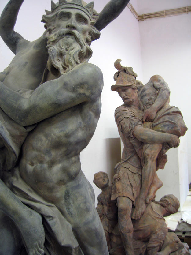 Statues during conservation at the lead workshop, 2006