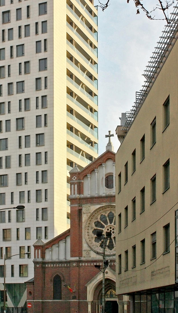The construction permit for the Cathedral Plaza building, seen in the background, was invalidated in 2013 by a Romanian court, but the completed building still stands, 2014