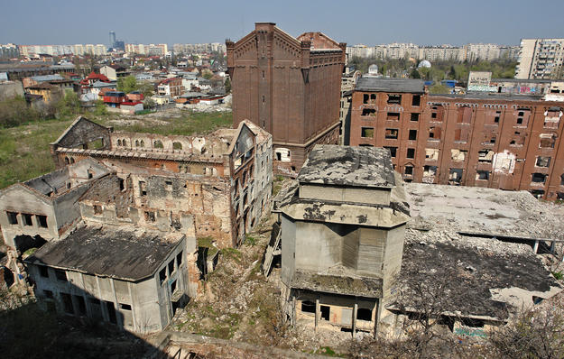Bucharest's Assan Mill complex, one of the most important industrial heritage sites in the country, has suffered from abandonment and two large fires in 2008 and 2012, 2014