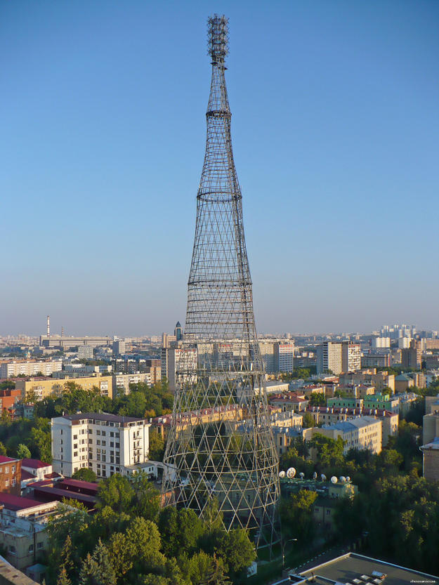 A view of the Shukhov Tower from the north, with its surrounding neighborhood, 2011